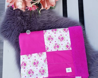 Patchwork cuddly blanket with name