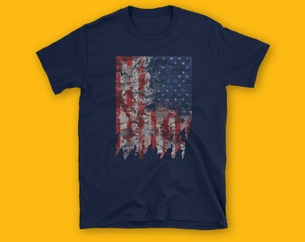 USA FLAG Short-Sleeve Unisex T-Shirt, Torn Off USA Flag tshirt, Fashion, Unisex, Couple Tshirt