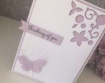 Thinking of You - floral and butterfly card