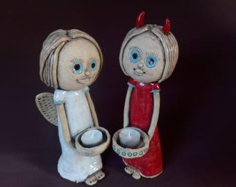 Cute Angel and Devil set/Angel and Devil Sculpture