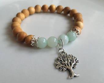 Tree of Life, Mint Green Jade, Thuja Wood, Beaded Bracelet, Charm Bracelet, Stretch Bracelet, Handmade Bracelet, Stackable Bracelet
