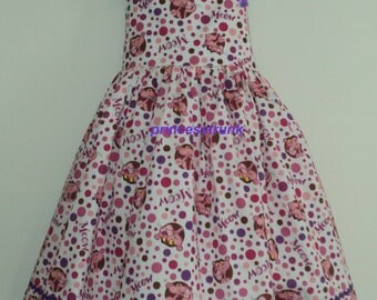 NEW Unique Design Handmade Pink Panther Eyelet Trimmed Dress Deluxe  Custom Size