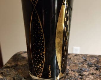 Fred Press Highball Glass Black and 22 Karat Gold Fish