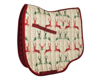Design Saddle rack ' wild leap ' with deer motif-green, red, beige, colourful-by Hucke-warmblood/dressage-anatomic fit-Cotton