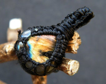 Labradorite Macrame Pendant Labradorite Macrame Wrapped Stone Pendant Macrame Jewelry LA-196