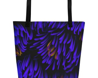 Beach Bag with Purple Abstract Flowers