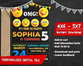 Emoji Birthday,Emoji Invitation,Emoji Party,Emoji Birthday Party,Emoji Birthday Invitation,Emoji Invitation Party,Emoji Invites Party-F0209
