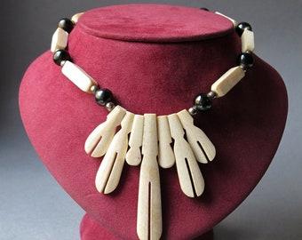 Vintage Bovine Bone Necklace Art Deco