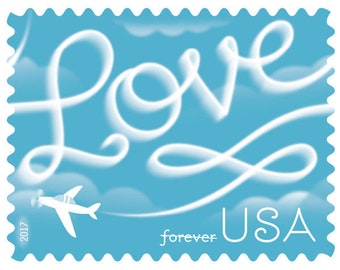 Love Skywriting Forever Stamps. 100 stamps per order.