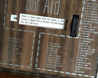 "Vintage Metal ""Bar Aid"" - Directions/Ingredients Rolodex-Style For 80 Drinks!"