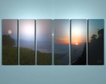 Sunset and Moonrise, Santa Barbara, Multi-panel Print