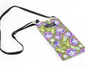 Tiger Lotus fabric Eyeglass Reader Case -with adjustable neck strap lanyard
