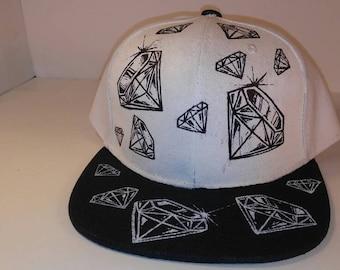 Black/white inverted Diamonds snapback hat