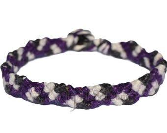 Darl Purple, pearl and black hemp Snake bracelet or anklet