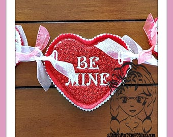 HEART Conversation BaNNER Motif Edge Applique Border, Holidays ~ In the Hoop ~ Downloadable DiGiTaL Machine Embroidery Design by Carrie