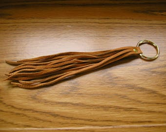 "Leather tassel keychain, tan leather tassel on a 1"" keyring, tassel is 7 1/2"" long,  8 3/4"" long overall"