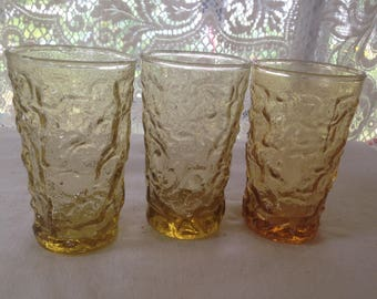 Lido Milano Juice Glass Anchor Hocking Honey Gold Set 4 Vintage 1970s Retro Kitchen Ware Bubble Wavy