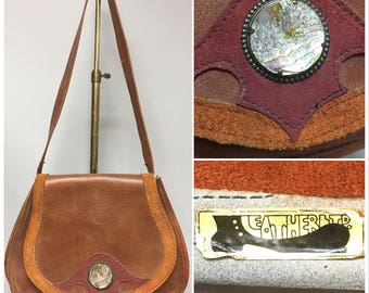 Vintage 1960's Hand Made LEATHER & Suede Shoulder Bag, 60's HIPPIE Era Purse, with ABALONE