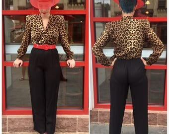 DEADSTOCK 80s LEOPARD Print Jumpsuit/ Never Worn 1980's Jumper w Tags / Size Small