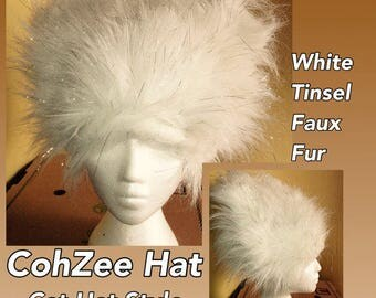 "Two Types of COHZEE Hats ""CatHat"" Faux Fur Hair Hat Black or White BurningMan style funfur Playawear costume wig cosplay Size LARGE"