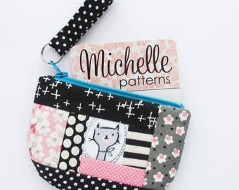 Business Card Case with Zip Top | Pink and Black Patchwork Zipper Mini Wallet Coin Change Purse Pouch