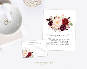 Prayer Cards and Sign - Floral, Bridal Shower, Couples Shower, Red, Instant Download PDF file - Holly Collection
