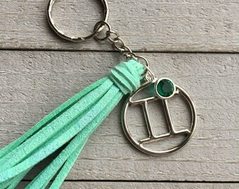 May Birthday Gift for Taurus or Gemini with Emerald Green Crystal Drop - Celestial Zodiac Gift Under 15 - Choose Tassel Color