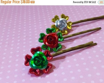 Christmas in July SALE. Christmas Hair Accessories, Holiday Flowers Hair Pins, Metallic Red Green Gold Silver, Festive Bobby Pins, Kreatedby