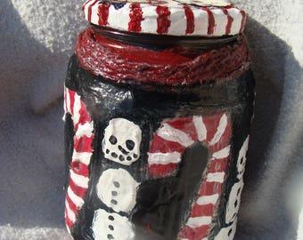 Snowman Candy Cane Christmas Stash/Altar Jar Papier Mache