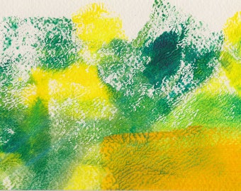 Fresh Spring #2 monoprint fresh greens and yellows