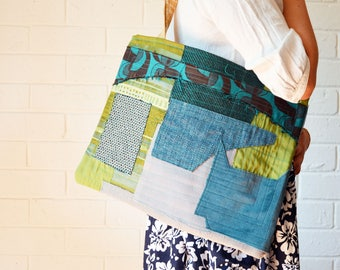 Upcycled Textile Art Teal Green patchwork Reclaimed fabric Large tote large Textile Art bag