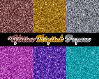 6 Glitter Texture Digital Papers - digital scrapbooking, digital scrapbook, gold, silver, rose gold, purple, pink, aqua, digital paper,