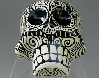 Large Handmade Hand Sculpted Ceramic Clay Day of the Dead Decor / Amor - Love / Halloween Sugar Skull Sun / Heart Pattern by Cindy Couling