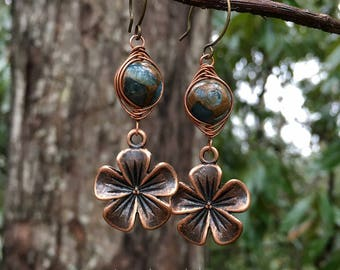 Wire-wrapped Stone Earrings || Copper Flowers | Hippie Chick | Flower Child | Bride | Bridesmaid | Woodland Wedding l Earrings Under 25