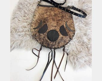 Cowhide Crossbody with Leather Moonphase