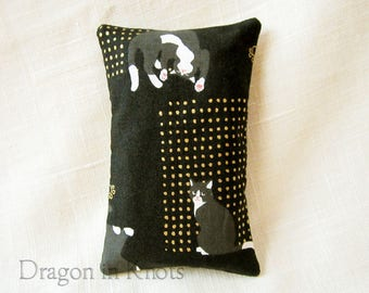 Cat Pocket Tissue Holder for Bag - Black Japanese Cotton Fabric, Small Tissue Cover for Purse, Cat Lover Gift, black and gold, grey cat