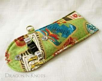 Lip Gloss Holder - Tall or Short, Travel themed, Vintage-inspired Insulated Keychain Pouch, Green Card Wallet, Travelogue Lip Balm Case