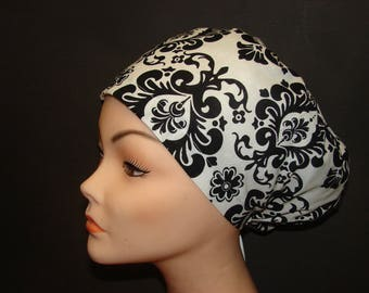 Black and White Damask Medical Surgical Scrub Hat Vet Nurse Chemo European Style