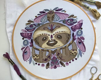 Sloths and Moths DIY Hand Embroidery color printed Sampler in the hoop embroidery art pattern designs