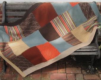 Patchwork Wool Blanket .  Wool Quilt . wool throw . made from repurposed wool sweaters . fisherman blanket