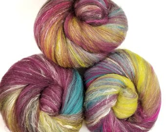 Wildberry -- classic batts -- (4 oz.) organic polwarth wool, silk, camel, sparkle.