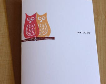 Owl Love Greeting Card - Owl Card - Anniversary Owl Love Greeting Card - Hand Printed Owl Greeting Card