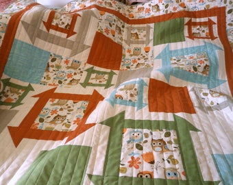 Owl Quilt, baby blanket, Churn Dash, Monkey Wrench, Patchwork quilt, Nursery Decor, contemporary design, one of a kind, modern traditional
