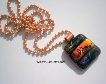 Dichroic Fused Glass Pendant  with 20 inch Copper Chain, Dichroic Glass Jewelry,  Willow Glass