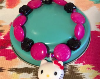Beaded Pink And Black Hello Kitty Bracelet