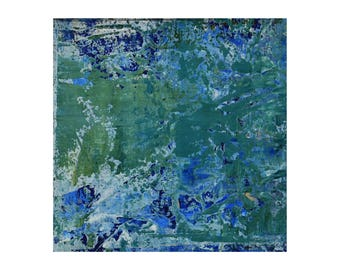 "Small Abstract Painting ""Ozone"" by Lisa Carney, Textured Acrylic, Modern Abstract, Minimalist Painting, Reductive Art, Color Field, Green"
