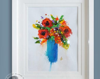 Vase Of Colourful Flowers Painting Framed In A White Frame