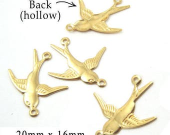 Four (4) Brass Sparrow Charms - Brass Birds - Connector Links - 20x16mm Nature Charms - Jewelry Supply - TWO Pairs