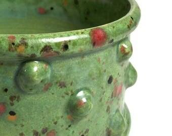 Succulent Pot -Green Planter Pot with Bumpy Texture - Bumpy Pot Planter with Feet