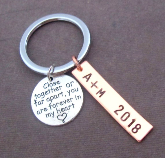 Long Distance Relationship,Long Distance Gift, Going Away gifts, Close together or far apart,Forever in my heart Keychain,Free Shipping USA